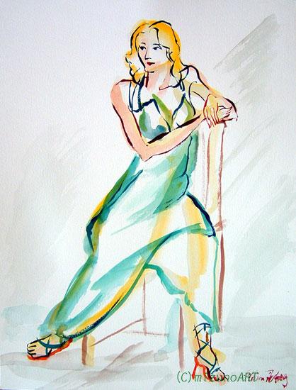 ほっと癒される光の絵画 感謝と祈りの詩と薔薇とアートコレクション-ロシア美人モデルをクロッキー