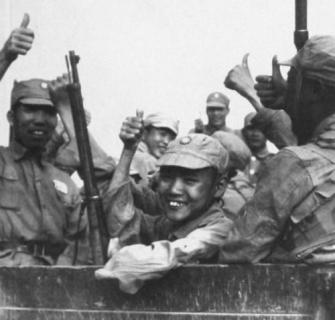 chinese soldiers inside transport giving thumbs up (burma 1942)