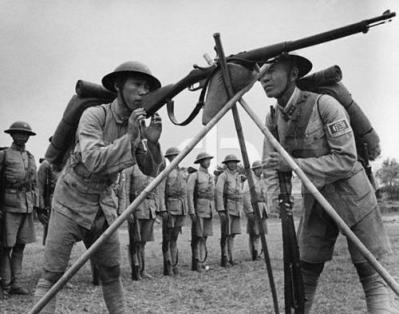 chinese soldiers on training field