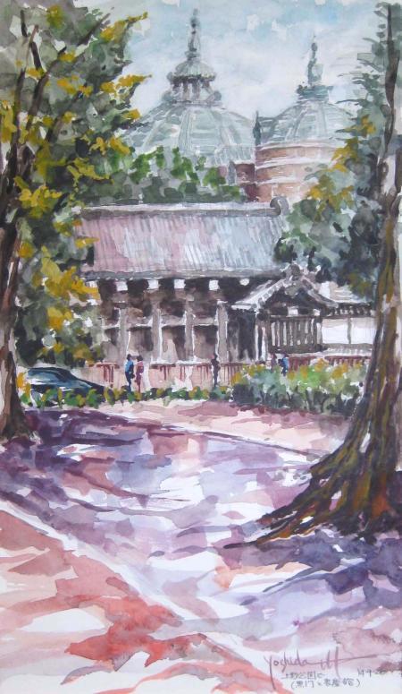 上野公園で/黒門と表慶館(30x51)