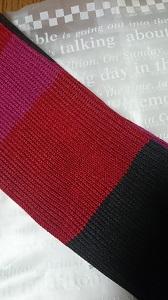 ユニクロ ストール 縞 ピンク