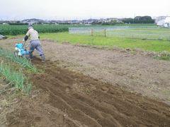 [写真]三郎さんが耕耘機で畑を耕しているところ