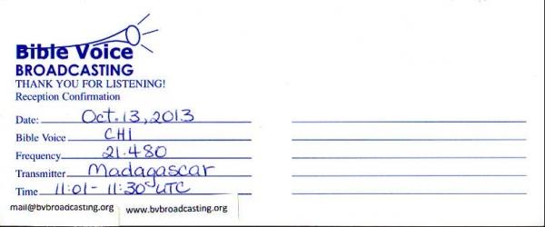 2013年10月13日 英語/日本語放送受信 Bible Voice Broadcasting