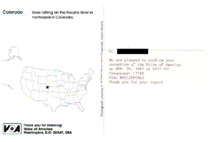 VOA アメリカの声のベリカード