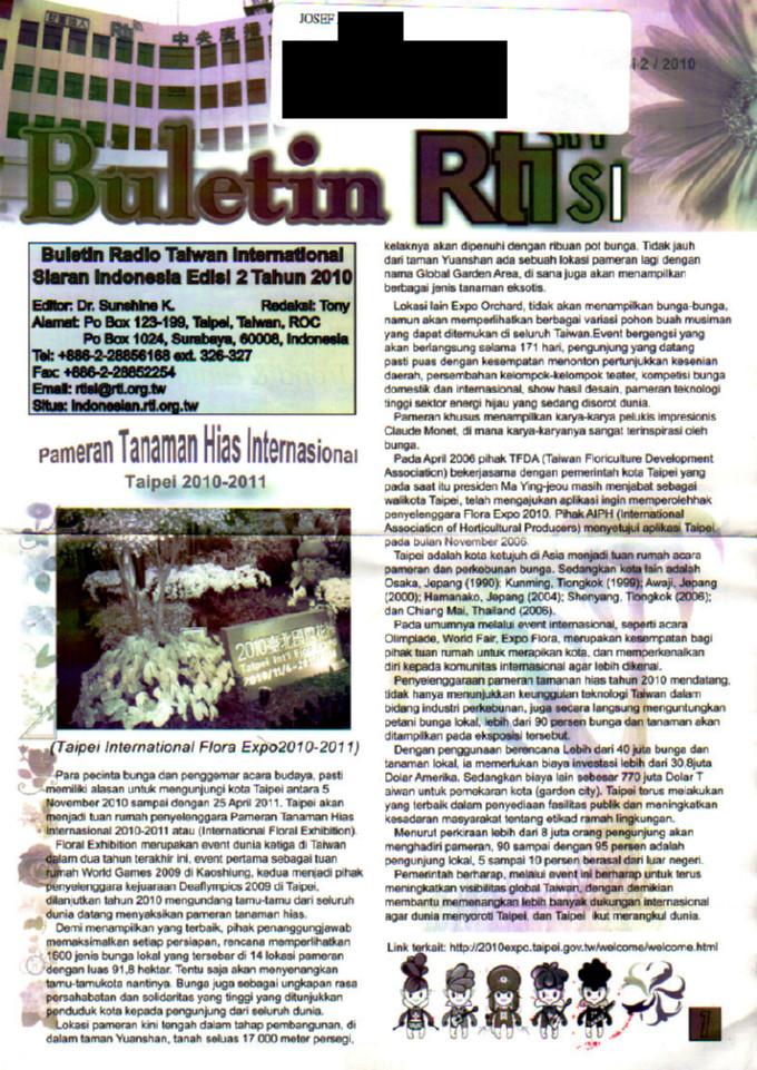 Siaran Indonesia Edisi 2 Tahun 2010 Radio Taiwan International