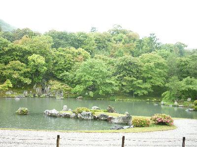 天龍寺の庭園ー池