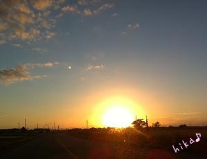 秋の夕日♪