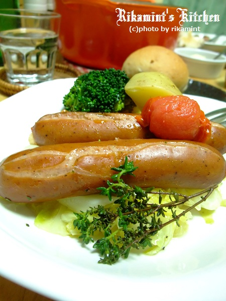 DSCF4・9ソーセージと野菜のワイン蒸ディッシュ (1)