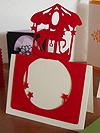 切り絵無料下絵 赤い木馬のカード