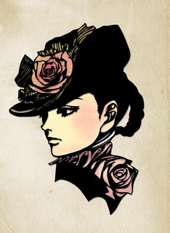 切り絵美人画 薔薇貴婦人