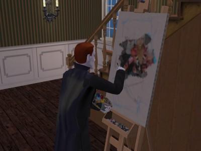 絵を描く伯爵