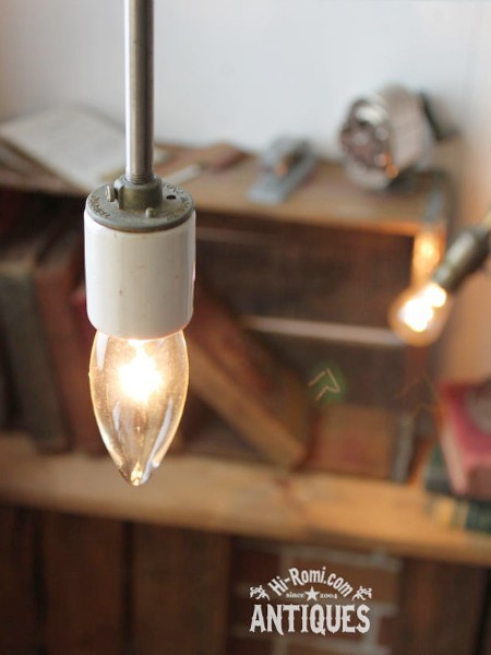 ■USA工業系ポール吊下ランプ陶器ソケット  アンティーク照明ライト