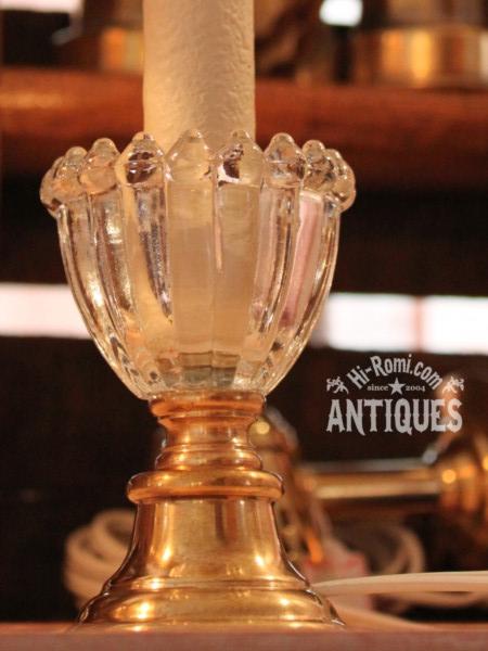 ヴィンテージガラス飾りキャンドルテーブルランプB  アンティーク