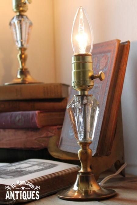 クリアカットガラステーブルランプA/アンティーク真鍮ベース照明 2011/06/13