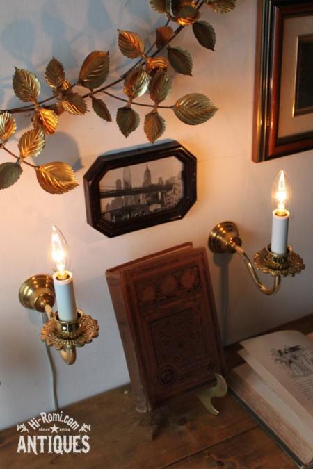 真鍮花飾ミニキャンドルウォールランプB/アンティーク壁掛け照明 2011/06/13