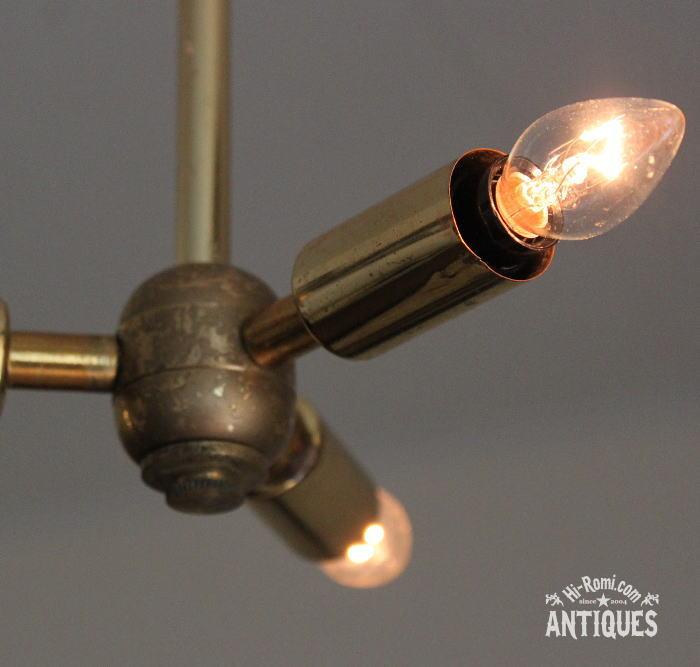 ミッドセンチュリー真鍮3灯ペンダントライト/アンティークランプ