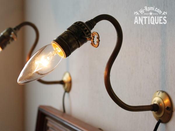 USA鍵付ソケット真鍮壁掛ライトA/アンティークウォールランプ