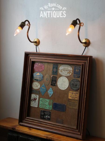 USA鍵付ソケット真鍮壁掛ライトB/アンティークウォールランプ