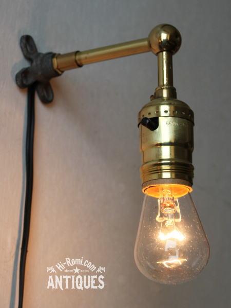 ヴィンテージ真鍮ソケット工業系壁掛ライトA/アンティーク照明