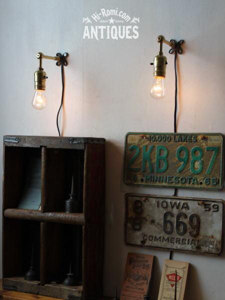 ヴィンテージ真鍮ソケット工業系壁掛ライトB/アンティーク照明