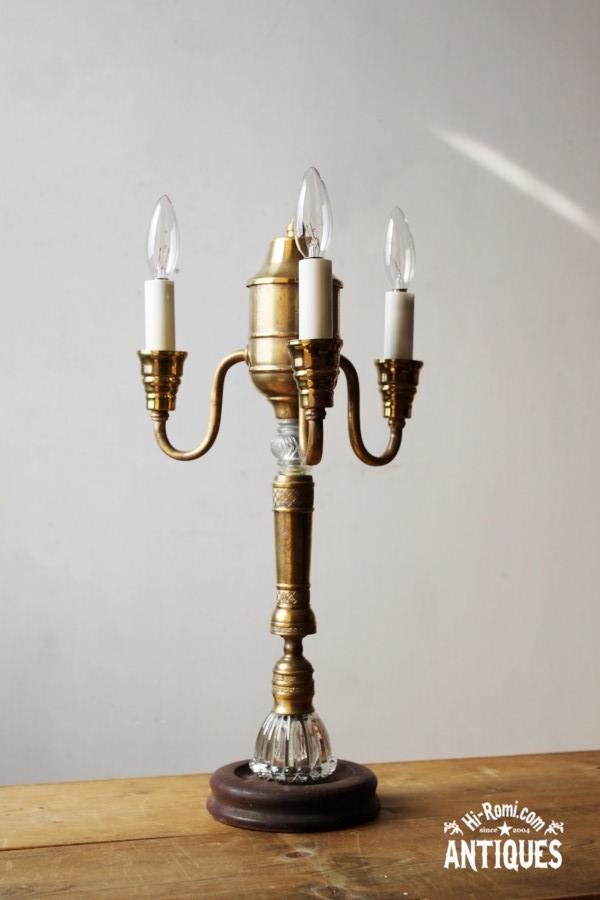 真鍮3灯キャンドルテーブルライト/アンティークランプブロカント