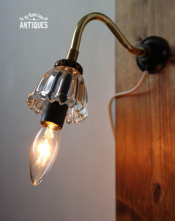 USAガラス飾りウォールランプブラケット/アンティーク壁掛ライト 20110711
