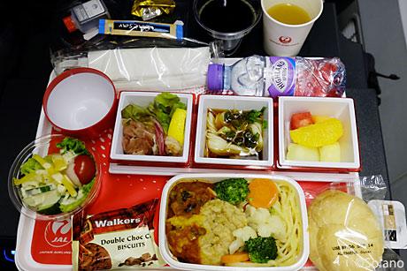 JAL羽田‐ロンドン線PY、第1回目の機内食。