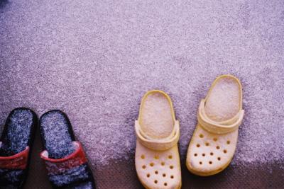 ベランダの雪化粧