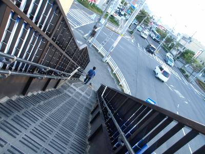 歩道橋より。アクアの散歩。