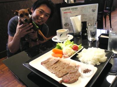 米沢牛ステーキランチとヨージ店長&アクア@VICTORY