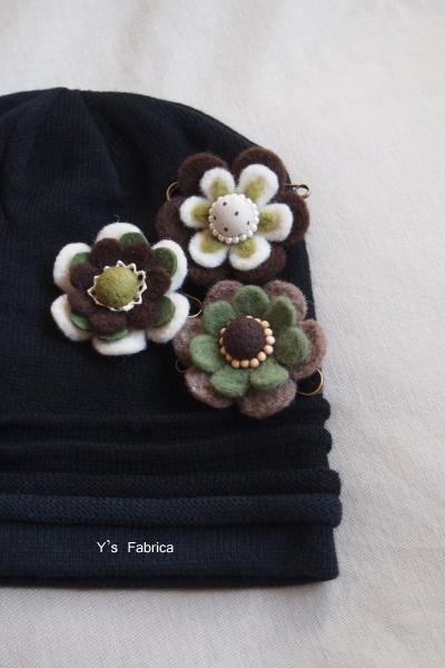 お花のコサージュ ブラウン系