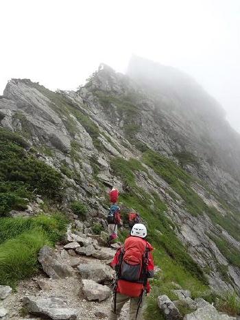 836二峰を仰ぐ。迫りくる壁のよう。