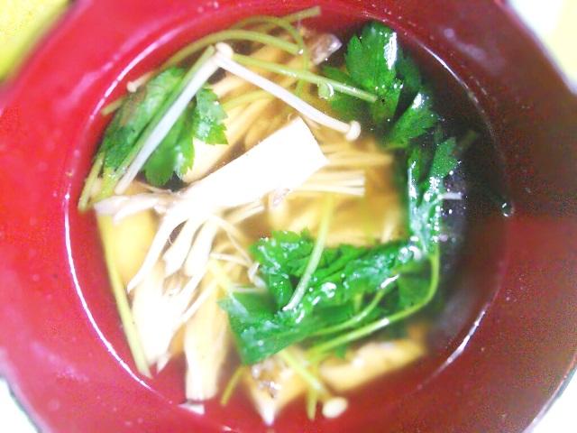 エノキと舞茸の塩レモン爽やかスープ