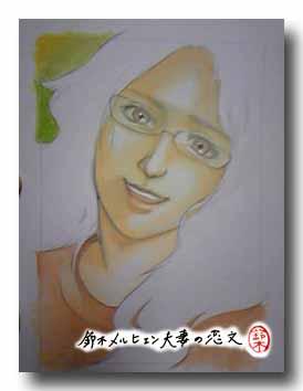 嫁画・アンジェラ・アキの似顔絵途中経過。水彩で髪の毛以外に色が入った状態。