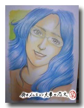 嫁画・アンジェラ・アキの似顔絵完成図のアナログ版。写真だと原画に近い感じに映ります。髪の毛ふわふわ。