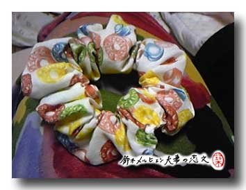 旦那作・ドロップ柄ミニシュシュ。嫁のお気に入りの布で。