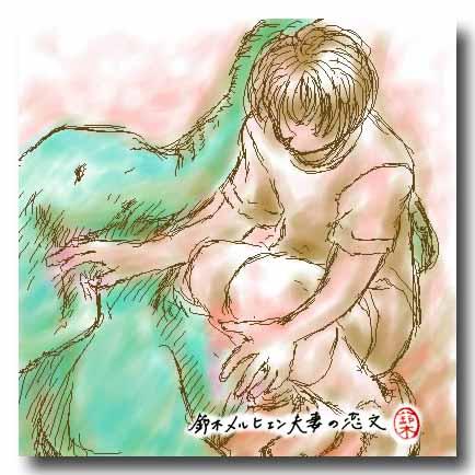 嫁画・「見送る」ということについて考えていたときに書いたイラスト。ゾウを見送る少年の絵。
