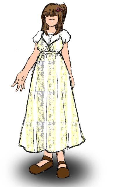 嫁画・嫁用マキシワンピ第二号デザイン画。今回は落ち着いた色合いの花柄で。