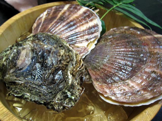 帆立、岩牡蠣