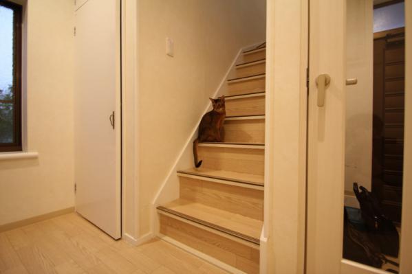 階段で物思いに耽る