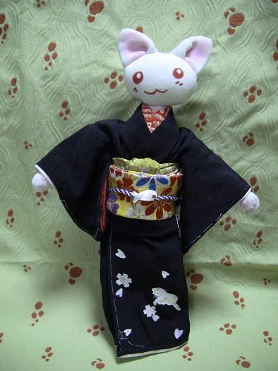 桜空猫刺繍留袖