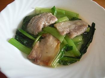 青梗菜と豚三枚肉の中華風あんかけ