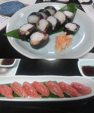 上は鯖寿司、下は牛の握り!