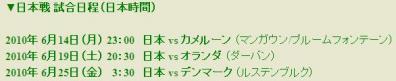 日本代表1次リーグ日程