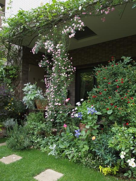 テラス前のバラ花壇