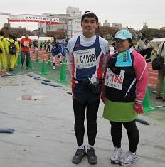 公民館委員の林さんも10kmを走る。