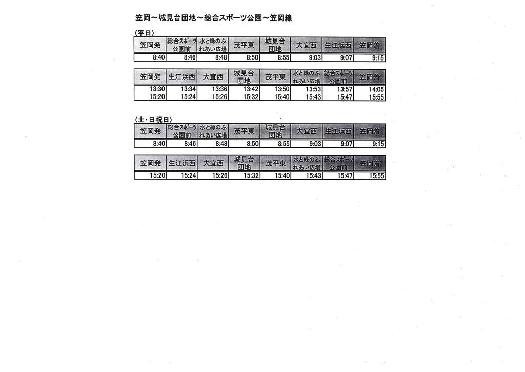笠岡~城見台団地~総合スポーツ公園~笠岡線