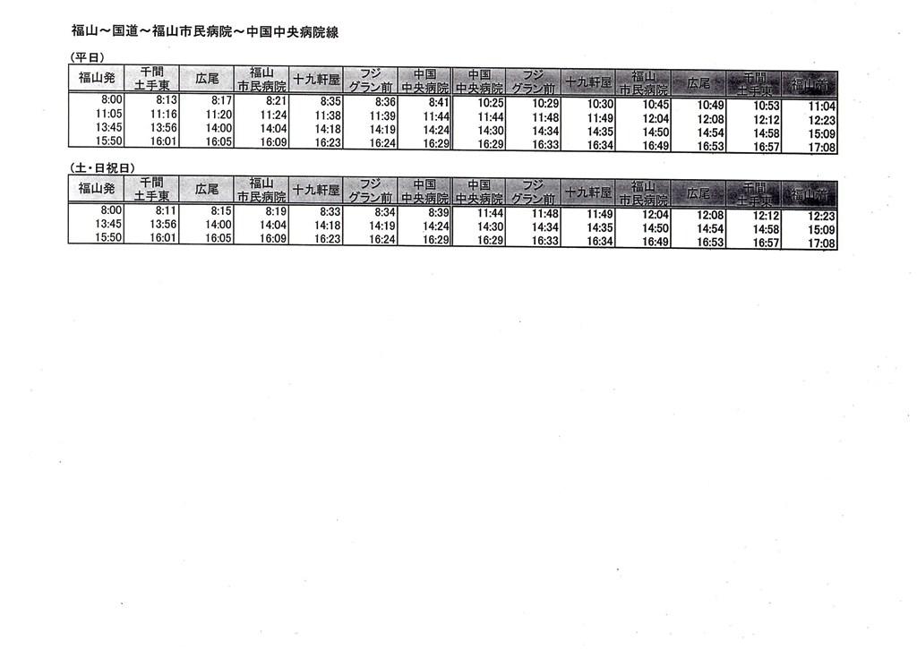 福山~国道~福山市民病院~中国中央病院線