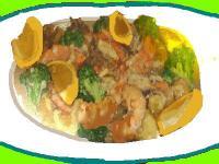 海老と野菜のマカダミアマヨネーズ炒め