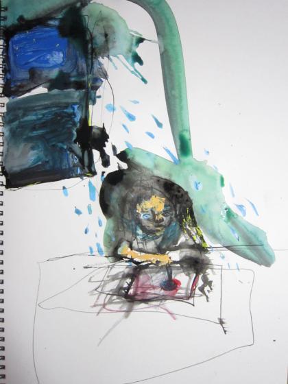 絵を描いていたら、窓から雨が 降ってきました